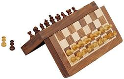 "SouvNear 7"" Magnetic Chess Set with Folding Board - Portable"