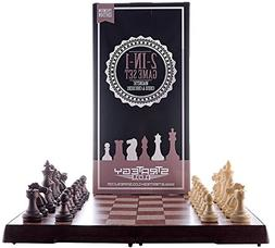 Chess Set and Checkers Game Board - 2 in 1 Folding and Magne
