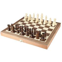 """Amerous Chess Set, 12""""x12"""" Folding Wooden Standard Travel In"""