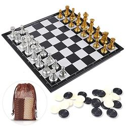 Peradix Chess Set Magnetic Chess Checker Board Game Toy Gold