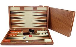 "19"" Large Classic Board Game Backgammon Set Brown Wooden Por"