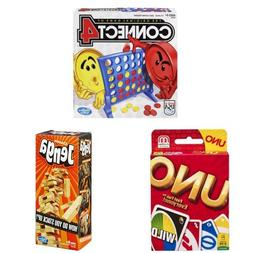 Classic Games Bundle including Connect 4, Uno, and Jenga
