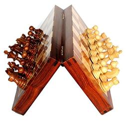 """Classic Handmade Magnetic 7"""" Inch Chess Game with storage fo"""