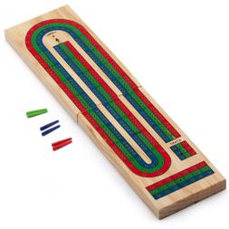 Classics 3-Track Color Coded Wooden Folding Cribbage Board