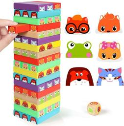 Lewo Colored Stacking Game Wooden Building BlocksTower Board