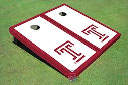 "Corn Hole Ncaa Temple University ""T"" White and Red Border Co"