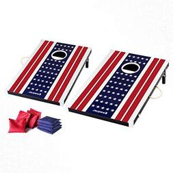 Harvil Cornhole Game Set - US Flag. Includes 8 Double-Lined