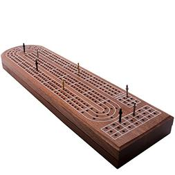 Premium Cribbage Board Game by GrowUpSmart with 3-track clas