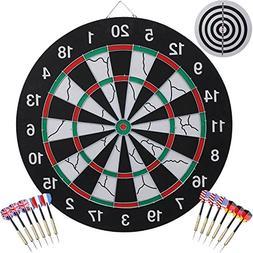 AUGYMER Dart Board with 12 Darts, 18 Inch Game Bristle Steel