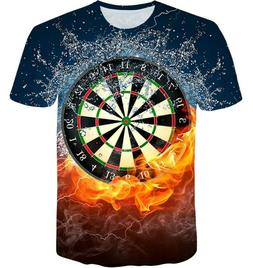 Darts Board Game Women Men Casual 3D Print T-Shirt Short Sle
