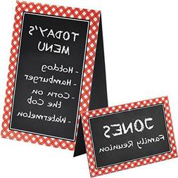 Delightful Picnic Party Red Plaid Chalkboard Tent Cards Deco