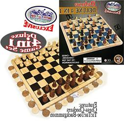 Matty's Toy Stop Deluxe 4-in-1 Chess, Checkers, Tic Tac Toe