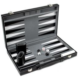 Brybelly Deluxe 15-Inch Backgammon Set with Stitched Black L
