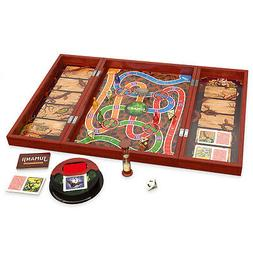 Deluxe Jumanji Classic Retro Board Game Real Wooden Box Toys