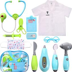 Maxdot 12 Pieces Kids Doctor Kit, Pretend Doctor Play Toy Se