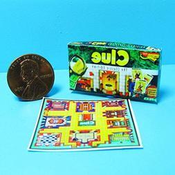 Dollhouse Miniature Clue Board Game w/Box Printed to Detail