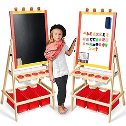 Kids Easel with Paper Roll +FREE Kids Art Supplies - Double