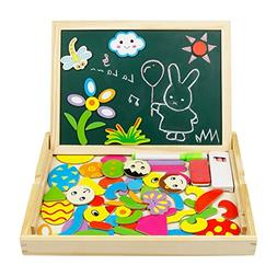 Wooden Magnetic Easel Drawing Board Games jigsaw Puzzles Dou