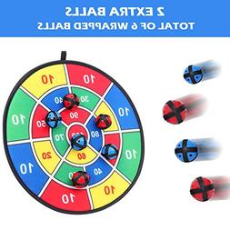 Fabric Dart Board Game with 6 Balls Using Hook-and-Loop Fast