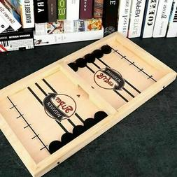 Fast Sling Puck Game Wooden Board Table Hockey Game Party Ch