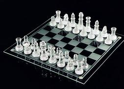 Fine Glass Chess Game Set, Solid Glass Chess Pieces and Crys