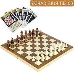 iBaseToy Folding Wooden Chess Set with 60 Game Rules Cards F