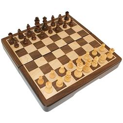 Frances 8 Inch Chess Folding Magnetic Inlaid Wood Board Game