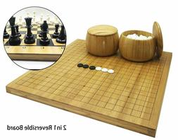 Full Size 2in1 Go Chess Game Set Reversible Bamboo Board, Bo