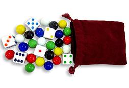 Game Bag of 24 Glass Marbles  and 6 Dice for Aggravation Gam