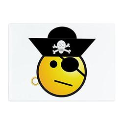 Glass Cutting Board Large Smiley Face Pirate