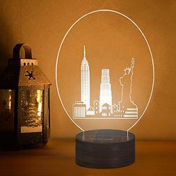 HAITARL 3D wooden Night Light Table LED Desk lamp USB Power