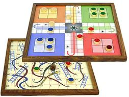 10 inches Handcrafted 2 in 1  Wooden Magnetic Game Board - S