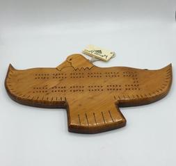 handmade wood eagle shaped cribbage board bird