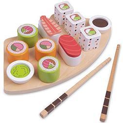 Imagination Generation I Love Sushi   14-Piece Wooden Sushi