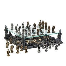 "INA KI Chess Board 13.5"" Glass board with Chess Pieces - Dec"