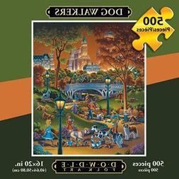 Dowdle Folk Art Jigsaw Puzzle - Dog Walkers 500 Pc