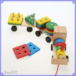 Kid Baby Wooden Solid Stacking Train Toddler Block Toy Fun V