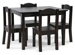 Tot Tutors Kids Wood Table and 4 Chairs Set Espresso Espress