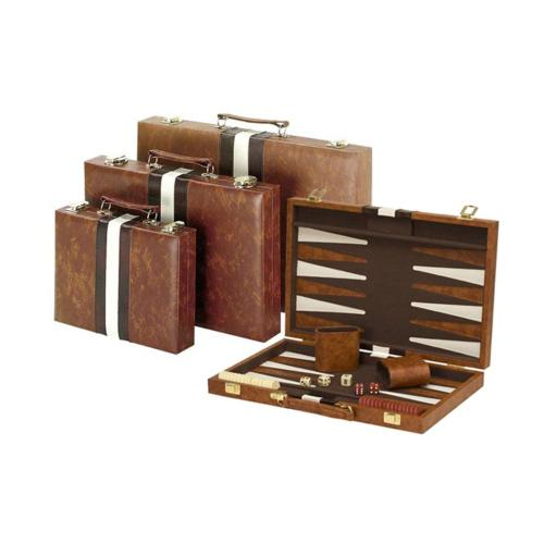 "14.75"" Recreational Board Game Vinyl Backgammon Set - Brown"