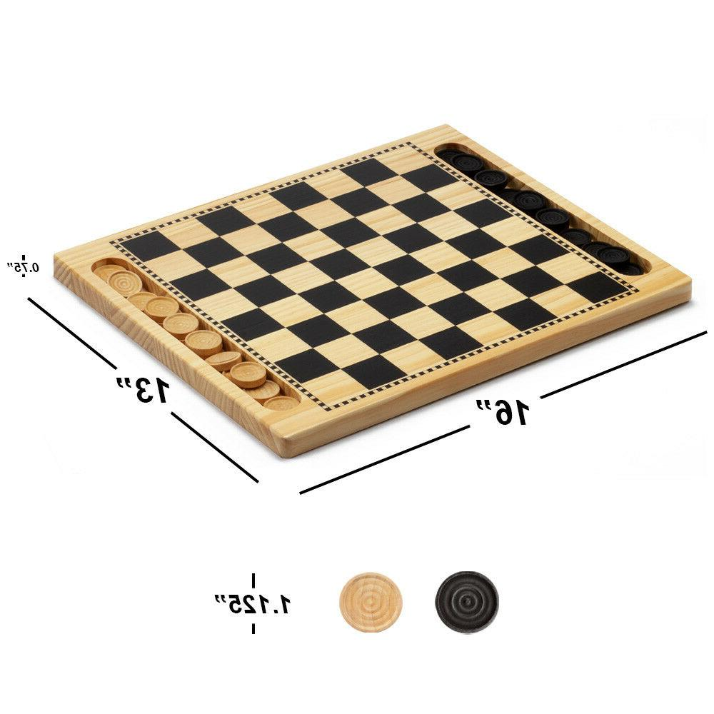 2-in-1 Wooden Checkers Tic-Tac-Toe Combo Set with Game