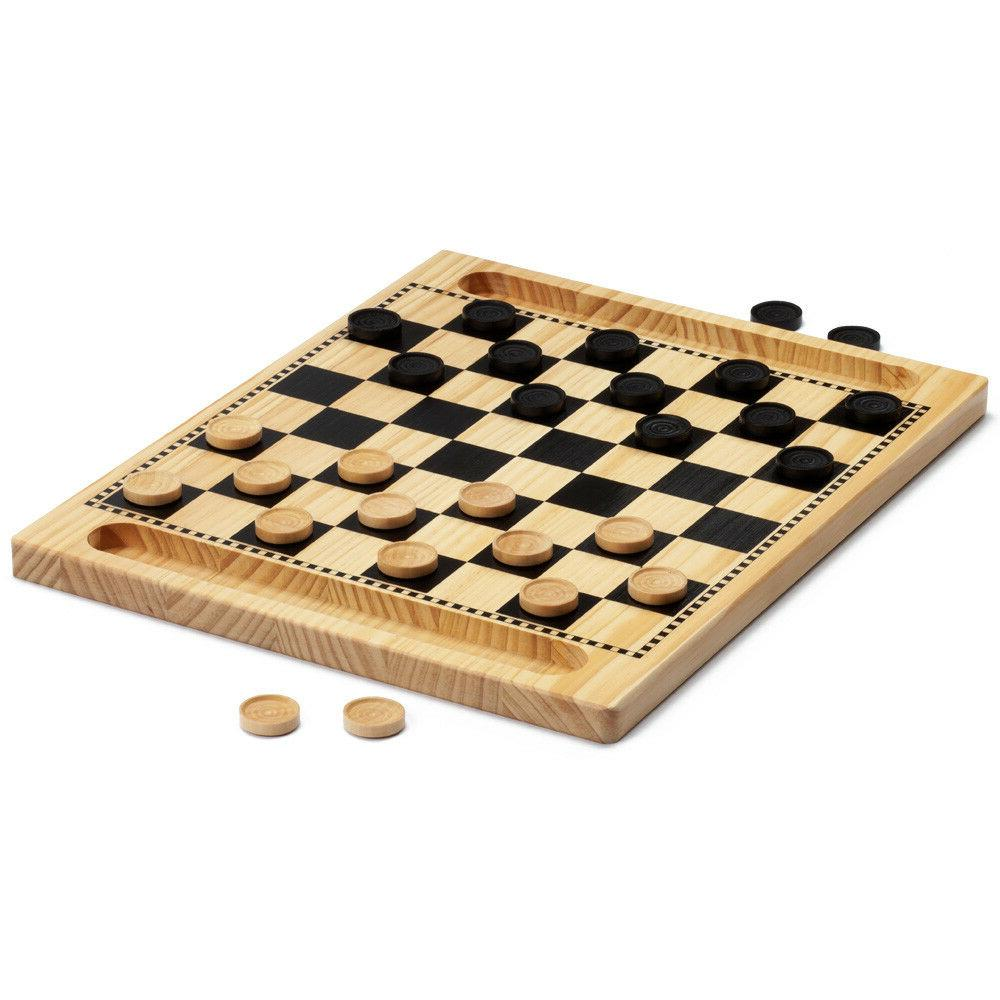 2-in-1 Wooden Checkers Tic-Tac-Toe Set with Pieces