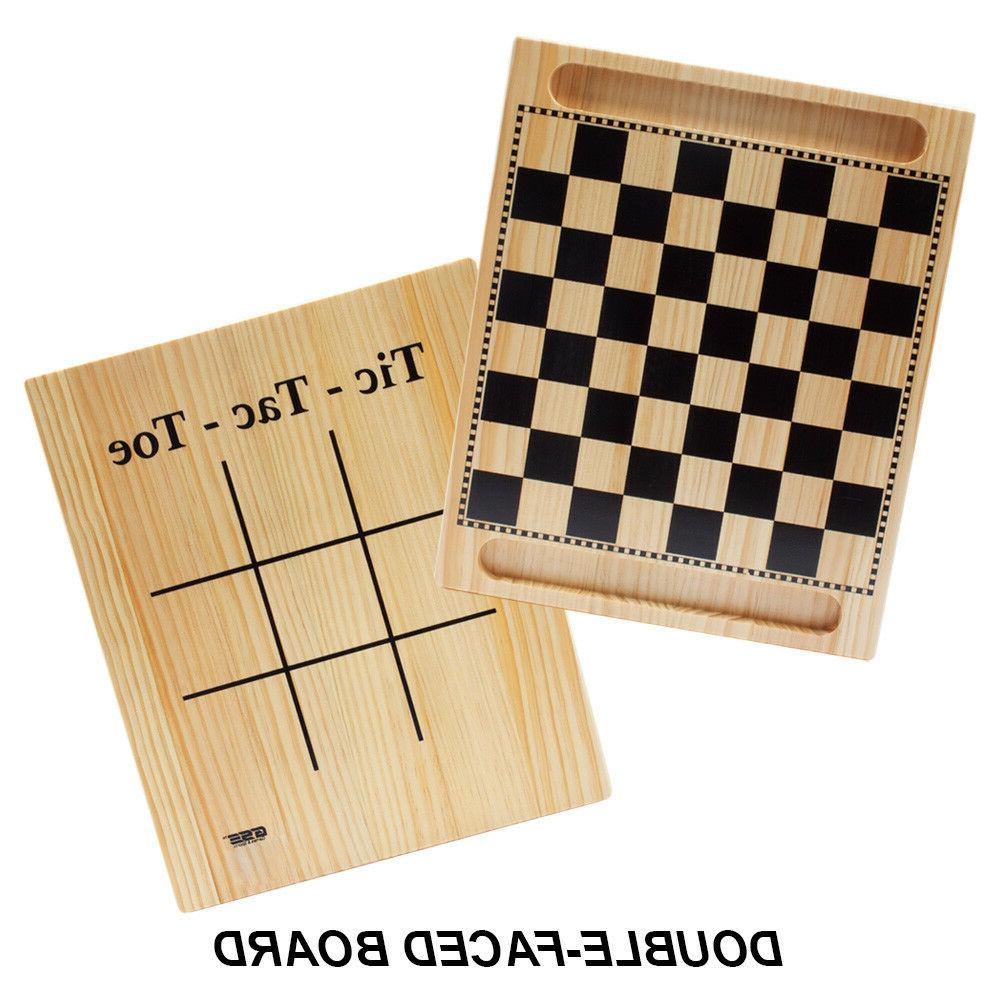 2-in-1 Wooden Tic-Tac-Toe Set with Game
