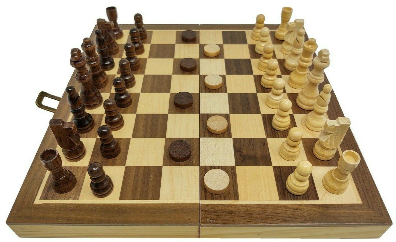 3 in 1 wood combination chess checkers