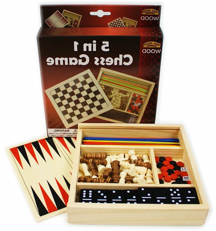 5-in-1 Wooden Board Set Checkers Pick Up Sticks Backgammon