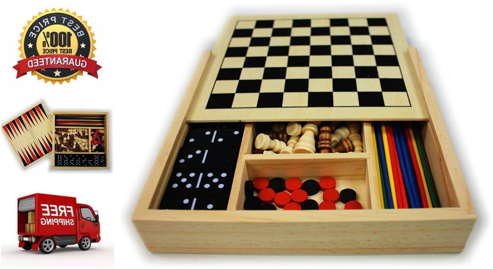 5-in-1 Wooden Board Game Set Chess Checkers Dominoes Pick Up