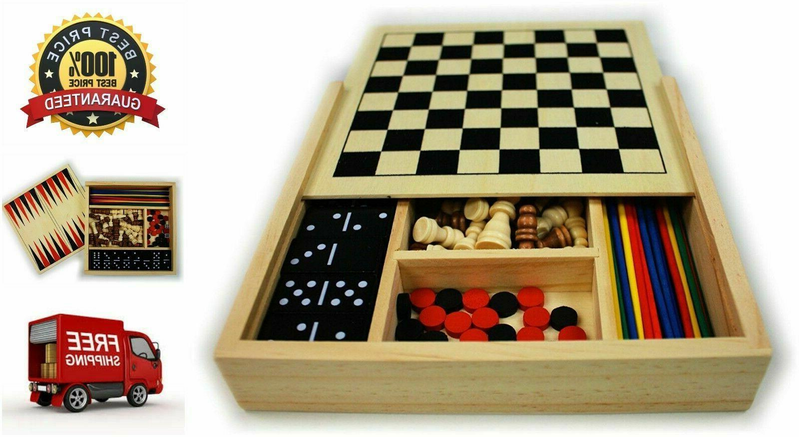 5 in 1 wooden board game set
