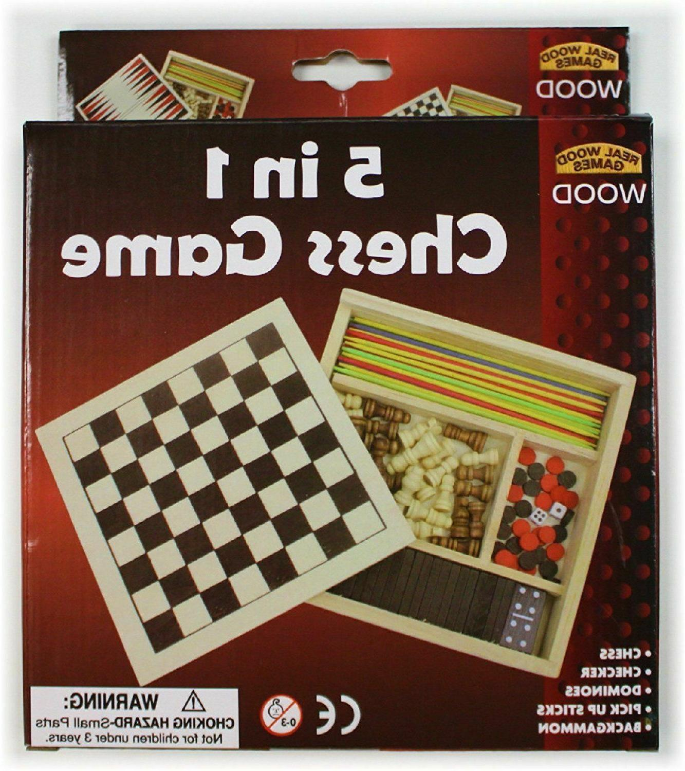 5-in-1 Wooden Game Set Checkers Pick Sticks