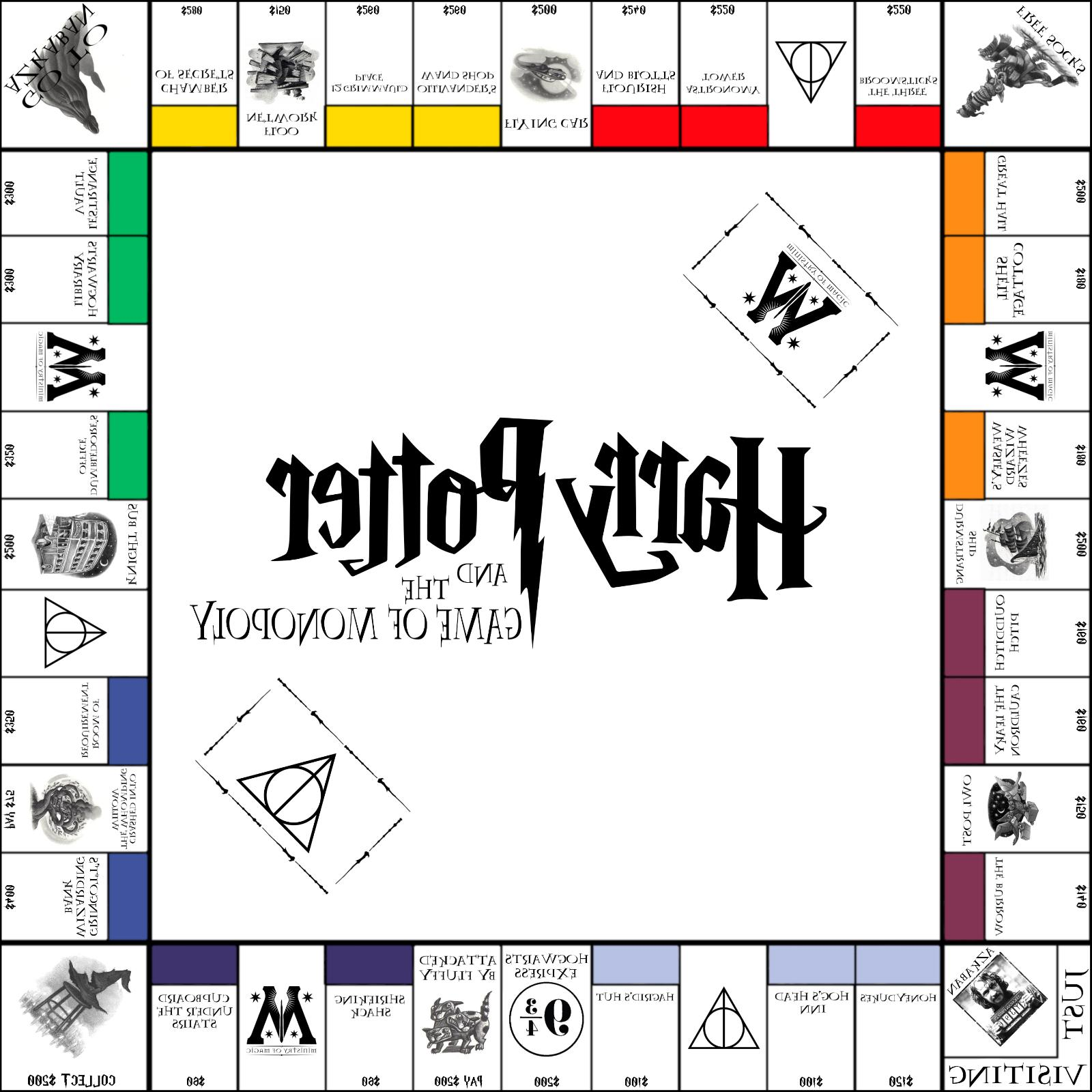 Harry Potter,Monopoly White Board,10in Set,Harry Potter Game