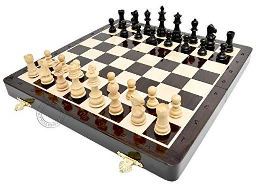 """House of Chess - Wooden Folding Chess Set / Board - 14"""" in W"""