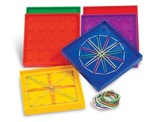 Learning Resources 5-Inch Double-Sided Assorted Geoboard, Se